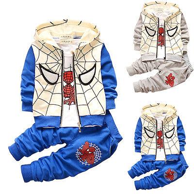 2016 Spring Baby Toddler Boy Tracksuits Spiderman Costume Hoodie Coat+T-shirt+Long Pants 3pcs Set 12-36M