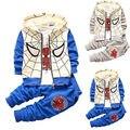 2016 Primavera Bebé Niño Niño Chándales Traje de Spiderman Hoodie de la Capa + camiseta + Pantalones Largos 3 unids Conjunto 12-36 M