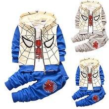 2016 Printemps Bébé Enfant En Bas Âge Garçon Survêtements Spiderman Costume À Capuche Manteau + t-shirt + Pantalon Long 3 pcs Ensemble 12-36 M
