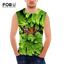 FORUDESIGNS Mens Character Tank Tops Animal Tiger Crew Neck Sleeveless Shirt Elastic Stringer Undershirt Singlet Cycling Vest