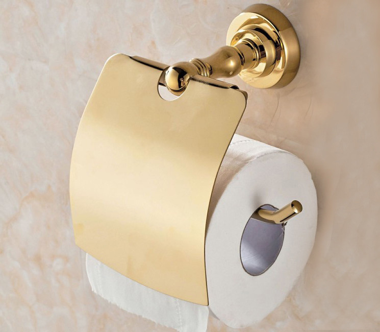 ФОТО Free Shipping GOLDEN Copper toilet paper holder paper rack gold plated towel rack fashion GB004c