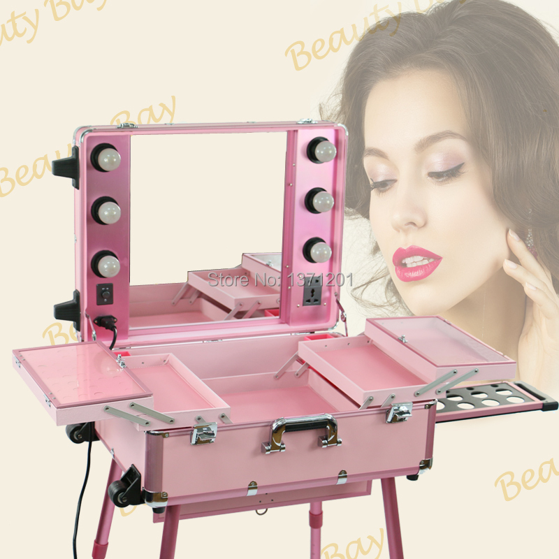 Hot Sale Pink Makeup Case With Lights Aluminum Makeup