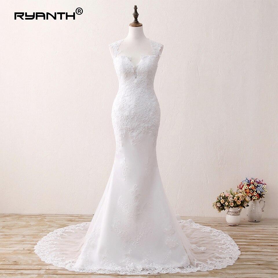 Robe de Novia 2019 Sexy Dos Ouvert Long Train Dentelle Sirène robe de mariage Boho Plage Robes de Mariée Bohème robe de mariée