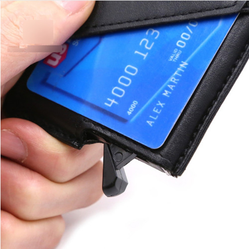 2017 New Aluminum Leather Wallet ID Business Card Holder Rfid ...