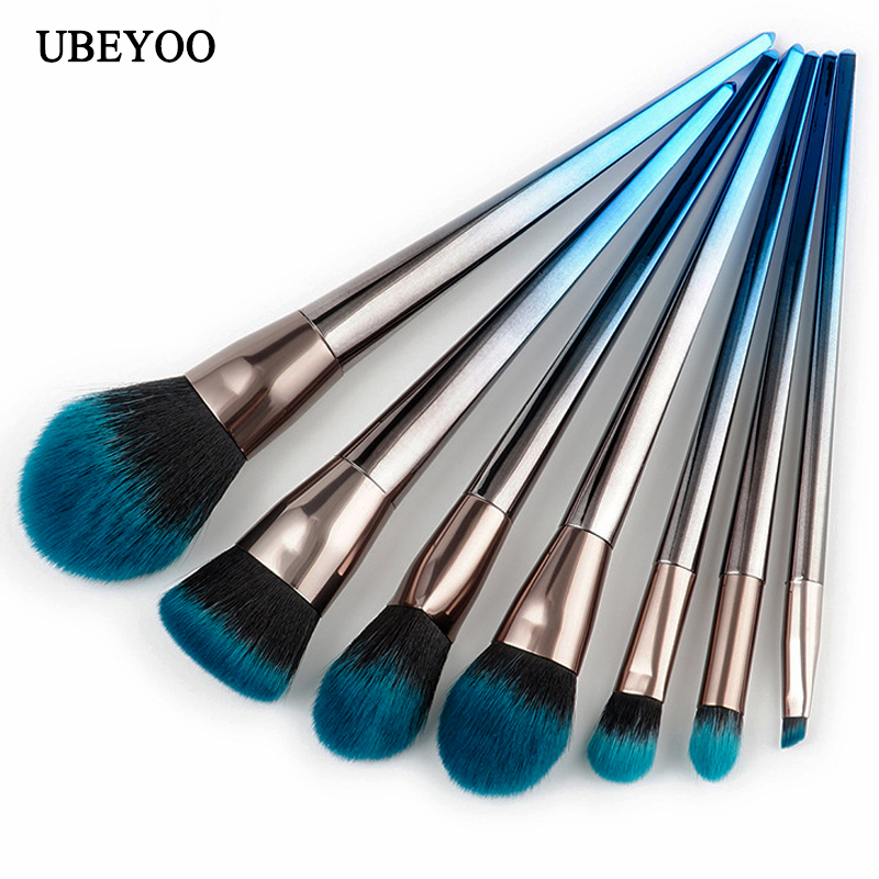 UBEYOO Professional 4/7pcs/set diamond shaped makeup brush beauty tools flame brush eye shadow brush blue and black gradient set