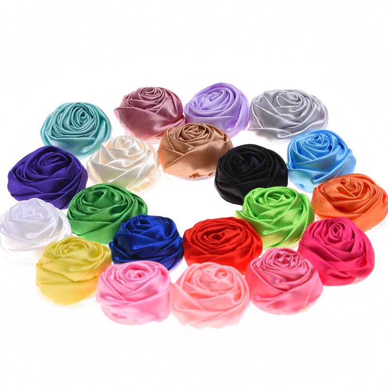 240pcs Satin Rosette 4cm Rose Flower Boutique Hair Flower Fashion Accessories for Headwear Wedding decoration flower