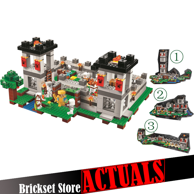 990pcs My world Minecraft The Fortress 4 models action figures DIY Building Block Bricks Toy For Kids Compatible legoINGly 21127 mylb toy 4 in 1 my world action figures building blocks compatible minecraft city educational enlighten bricks for kids