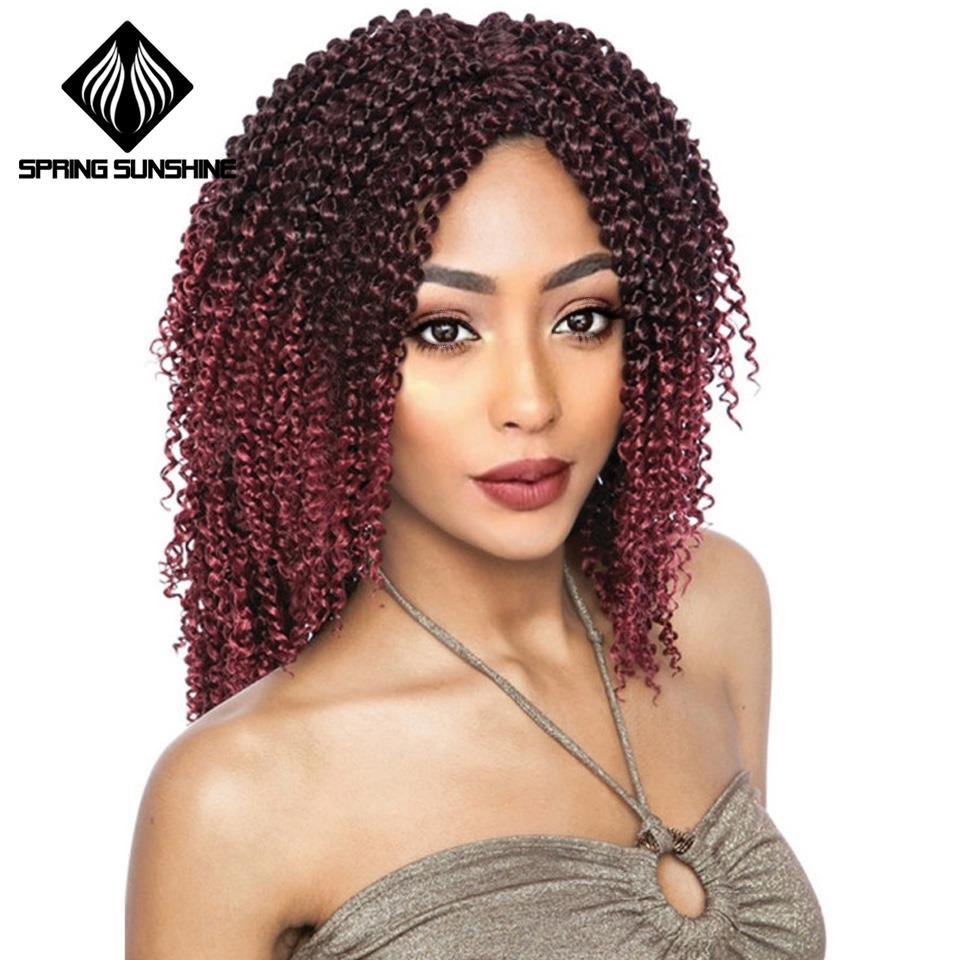 Home 14inch Long Curly Crochet Hair Marley Braid Hair Kanekalon Ombre Braiding Hair Extensions Synthetic Crochet Braids Grey Brown