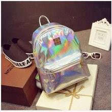 2016 New Hologram Laser Backpack Girl School Bag Shoulder Women Rainbow Colorful Metallic Silver Laser Holographic Backpack
