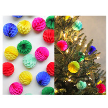 10pcs 2 inch 5cm Tissue Paper Flower Ball Garlands Honeycomb Lantern Christmas tree decoration(China)
