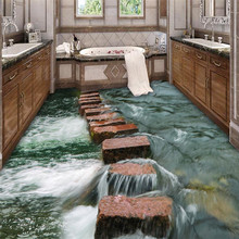 Custom Photo Floor 3D Wallpaper Modern Art river stones Bathroom Floor Mural-3d PVC Wallpaper Self-adhesive Floor Wallpaper-3d цена 2017
