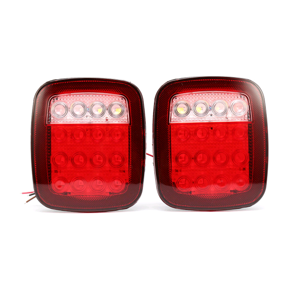 2PCS LED Car Red White Tail Light Truck Trailer Stop Turm font b Lamp b font
