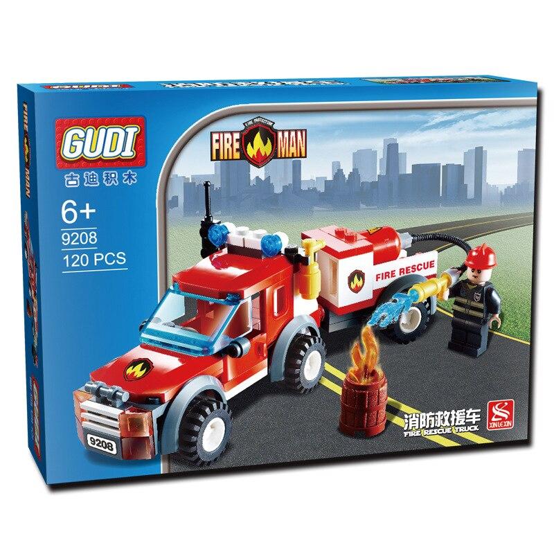 GUDI 122Pcs City Fire Station Fire Rescue Vehicle Minifigure Building Block Bricks Kids Toys Children Gift