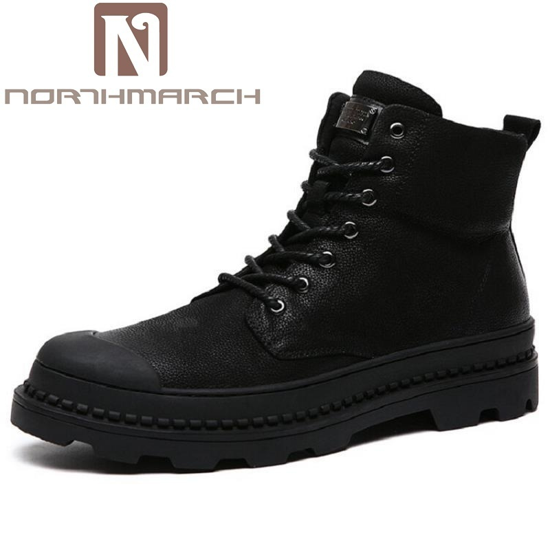 NORTHMARCH Designer Man Boots Shoes Handmade Male Genuine Leather Sneakers  Mens Black Luxury Fashion Ankle Boots Bota Masculina 087ff9407044