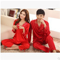 Ladies Autumn Pajamas Love Sleep Red Satin Silk Marry Pyjamas Men And Women Lounge Couple Pajama Sets 3XL