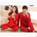 Senhoras Outono Pijama Sono Amor Vermelho de Cetim de Seda Casar Salão Conjuntos de Pijama Casal Pijamas Homens E Mulheres 3XL