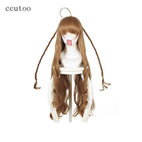 Ccutoo 100cm 39 Brown Curly Long Synthetic Hairstyles Heat Resistance Cosplay Costume Wigs Peluca For Female