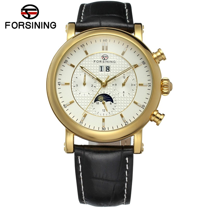 FORSINING Brand Mens Genuine Leather Band Luxury Moon Phase Automatic Self-Wind Mechanical Watch Wristwatch Relogio Releges forsining men luxury brand moon phase genuine leather strap watch automatic mechanical wristwatch gift box relogio releges 2016