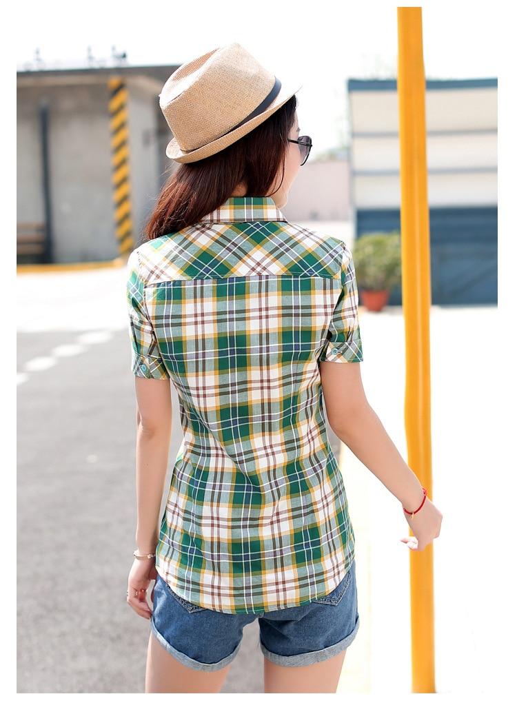 Yaz Pamuk Ekose Kadın Gömlek Kısa Kollu Kadın Bluzlar Tops Kolej - Bayan Giyimi - Fotoğraf 3