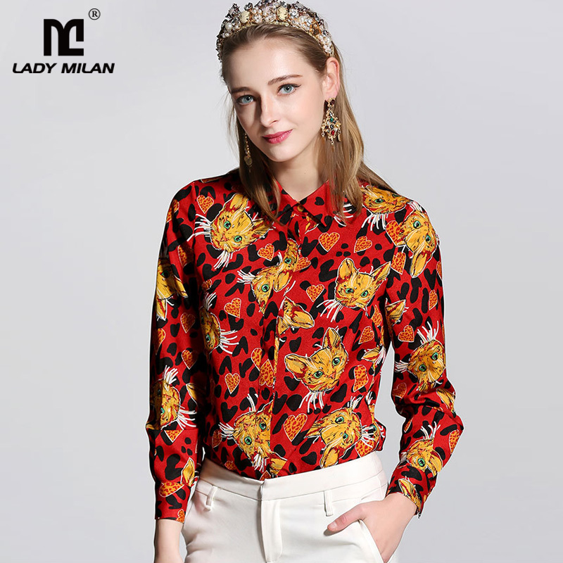 New Arrival 2018 Spring Womens Turn Down Collar Long Sleeves Printed Fashion Shirts