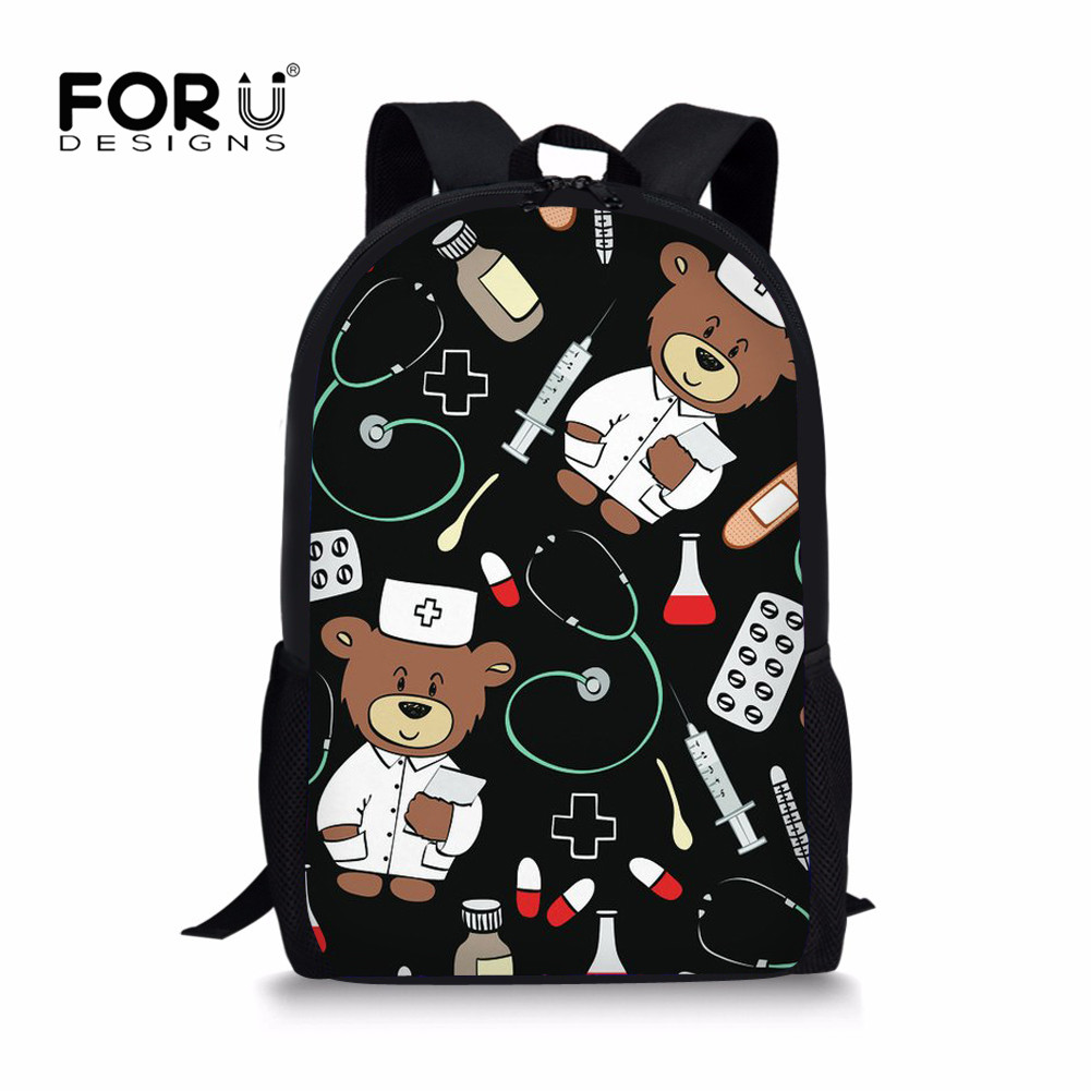 FORUDESIGNS Cartoon Cute Bear Doctors Backpack for Printing School Backpacks Children Kids Girl Rucksack Leisure Mochila Escolar