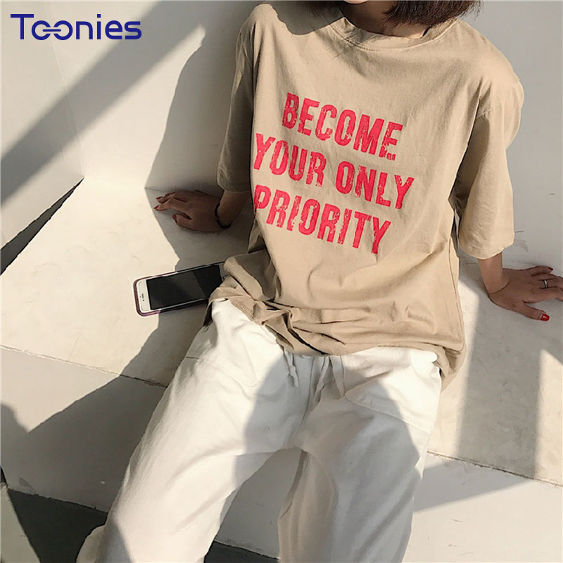 2018 New Arrival Shor Sleeve Tshirt Women All-match O-neck Loose Female T-shirt Letter Printed T Shirt Tops Summer Women Clothes