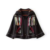 Женское пальто с расклешенными рукавами, Свободный плащ, черная куртка, украшенная бусинами, jaqueta feminina, цветные, с кисточками, chaquetas invierno mujer