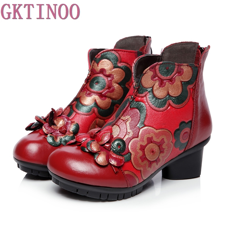 2018 autumn and winter women National trend genuine leather boots handmade vintage motorcycle ankle boots flower mother shoes handmade genuine leather boots vintage national trend women boots twiddlefish platform flat heels boots women shoes