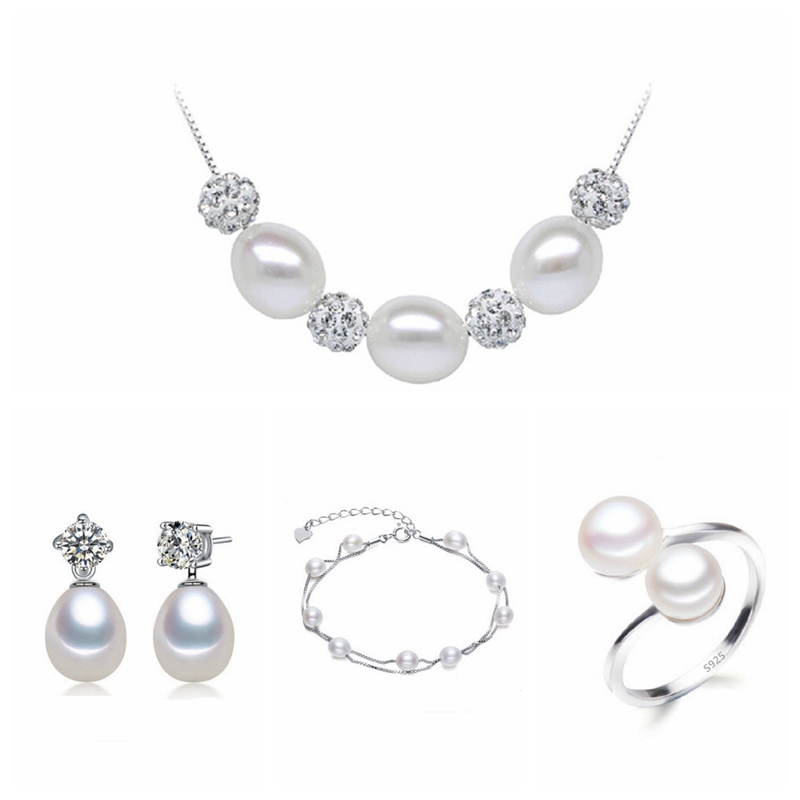 Real freshwater pearl jewelry set women natural pearl sets 925 sterling silver jewelry girl birthday engagement gift 4-X2-E1-J1 crystal jewelry set sterling silver jewelry 100% 925 formal jewelry set natural freshwater pearl