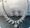 Lujo Marquise Forma Oro Blanco Plateado de Alta Calidad Cúbicos Circón Diamante Creado Americanos Sistemas de La Joyería Para La Boda Nupcial J008