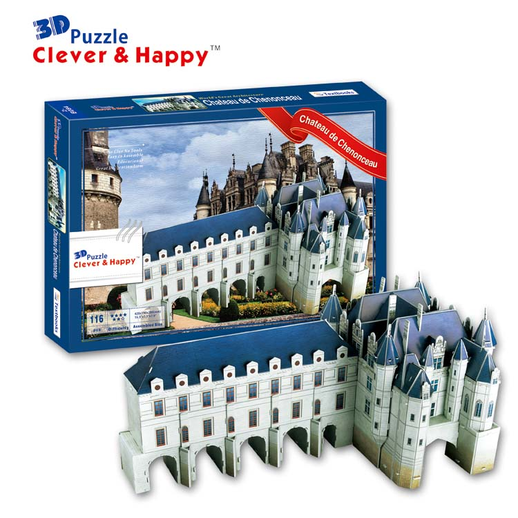 2013 New Clever&happy Land 3d Puzzle Model Chateau De Chenonceau Girlfriend Gifts Diy Paper Educational Toys Paper