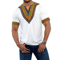 100 Cotton Retro Tshirt Male Deep V Neck Tops Men Collarless T Shirts African Print Traditional