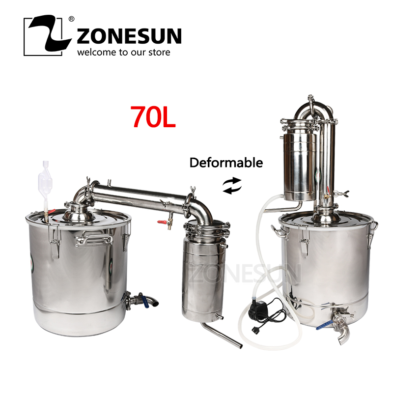 ZONESUN 70L Vin Distillateur Barware Machines De Brassage En Acier Inoxydable Vin Faire Chaudière Gal Transformateur D'alcool Kit de Brassage Dispositif