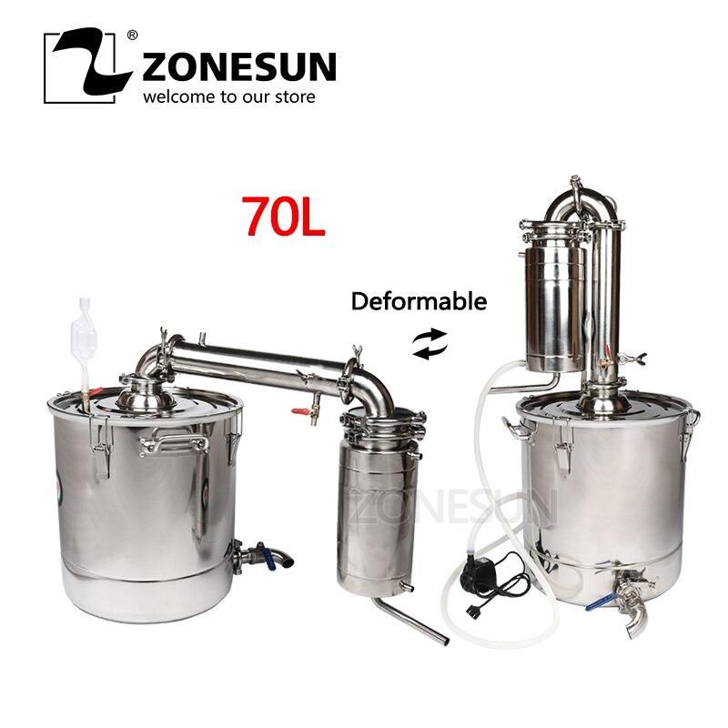 ZONESUN 70L Vino Distiller Bar, Utensili e Accessori Birra Macchine di Produzione di Vino In Acciaio Inox Caldaia Gal Trasformatore Alcool Birra Kit Dispositivo