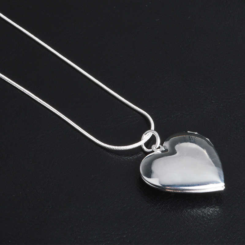 Classic Vintage Rose Flower 925 Sterling Silver Locket Double Heart  Necklace Photo El Collar Pendant Women' Best Gift