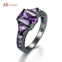Female Purple Stone Ring Fashion Black Gold Filled 925 Sterling Silver Jewelry Vintage Wedding Rings For