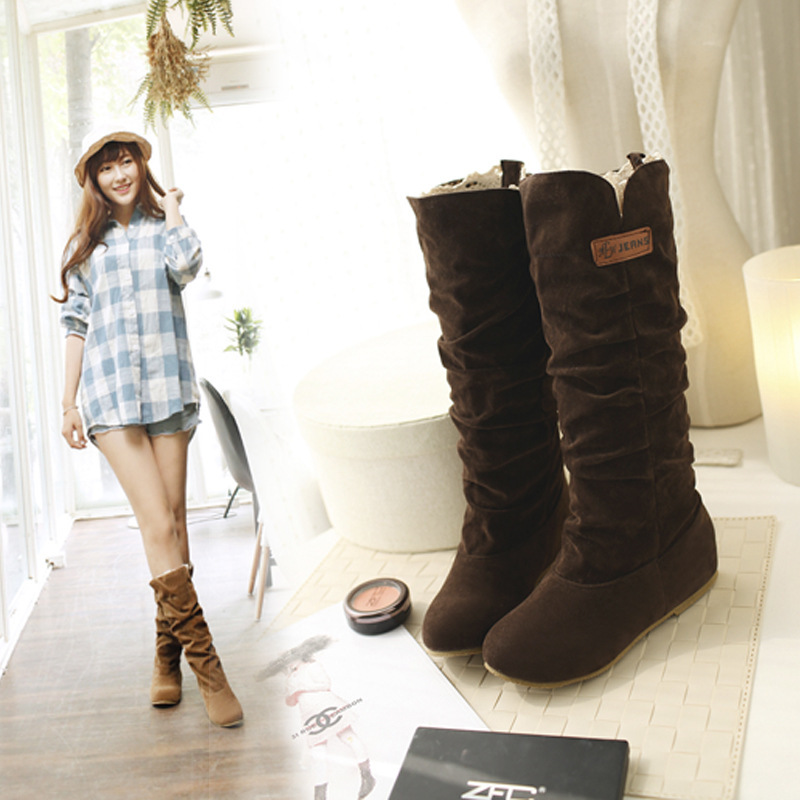 Women Lace Nubuck Flat Heels Winter Snow Boots Shoes Women's Flock Plush Padded Winter Long Riding Motorcycle Boots Shoes 3