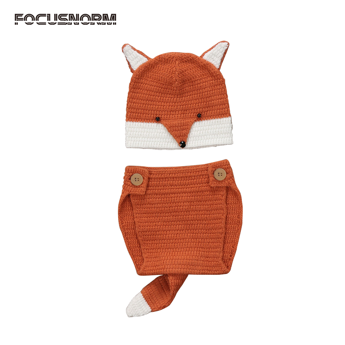Photo Props Newborn Baby Boys Girls Fox Ear Hat + Bottom Photography Knitted Sweater Outfits Clothes