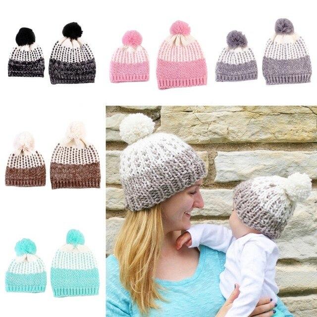 78d7030682a 2 Pcs Cute Mother and Baby Crochet Hats Toddler Kids Boys Girls Knitted  Beanie Hat Children