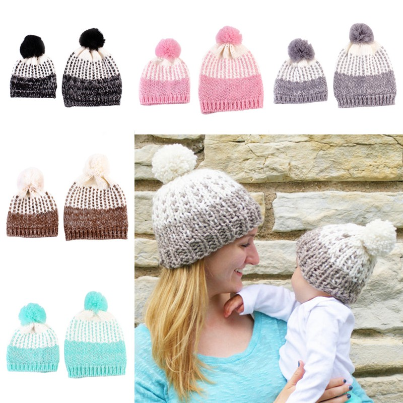 2 Pcs Cute Mother and Baby Crochet Hats Toddler Kids Boys Girls Knitted Beanie Hat Children Adult Winter Warm Fur Pompon Caps