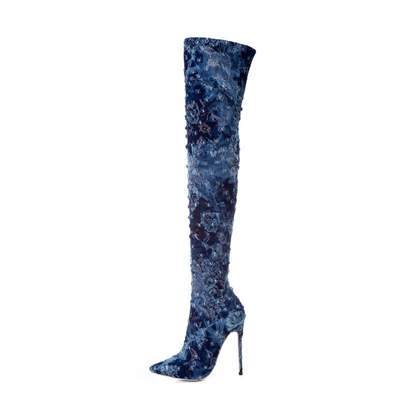Chaussures De Salu Sur Mince Pointu Bleu 2018 Longues Le Talons Mode Sexy Grande 33 Bout Hauts Bottes Partie Femme Taille 43 Genou x0PqzZrn0w