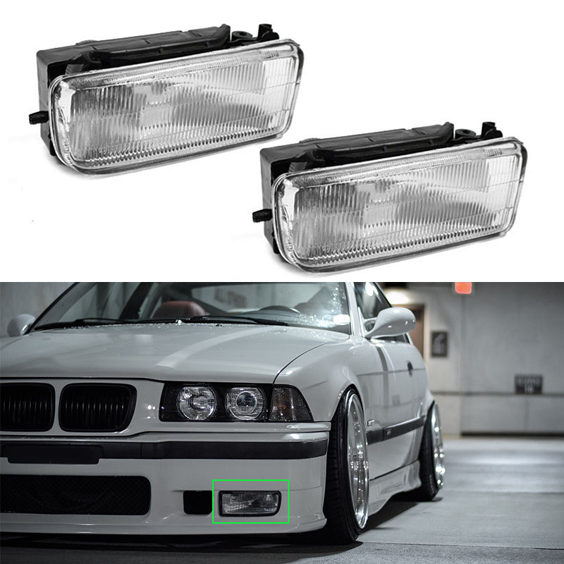 2x ABS Plastic Front Bumper Fog Lights Lamps For BMW E36 3 Series Driving Safety2x ABS Plastic Front Bumper Fog Lights Lamps For BMW E36 3 Series Driving Safety