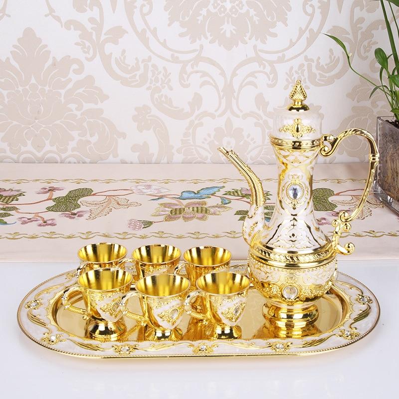 Metal Crafts Coffee Set Wine Set European Tea Sets Creative Hotel/ Home Room Table Decoration 1 set= 1 plate+ 1 pot +6 cups - 2
