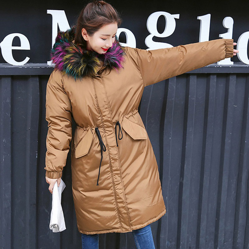 New Women Winter Long Down Coat Fur Collar Fashion Female Duck Parkas Jacket Thick Warm Elegant Down Coat Slim Wadded Jacket