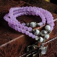 ナチュラル紫水晶ブレスレット白シャコガイチベットシルバー108ビーズ6ミリメートルネックレスジュエリー多層用女