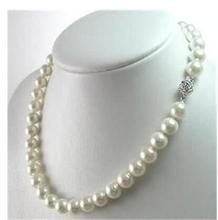 Women Gift Freshwater Natural jewelry >Genuine 8-9mm White Akoya Cultured Pearl Necklace 17' 22 aaaaa top grading japanese akoya cultured pearl 7mm 14k white gold necklace