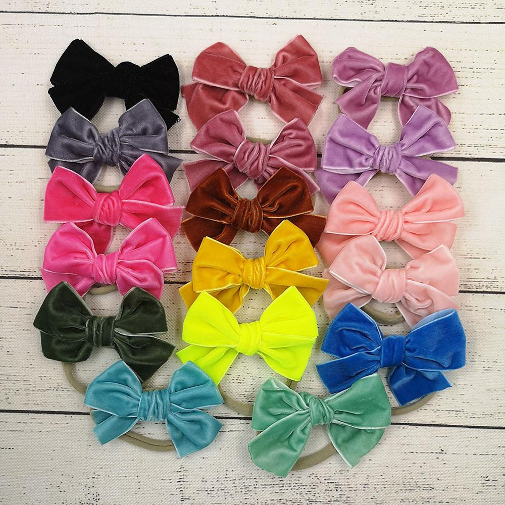 MengNa 2019 New 36pc/lotToddler Baby Girls Velvet Hair Bows Headbands ,4Inch Solid Bows Nylon Headband