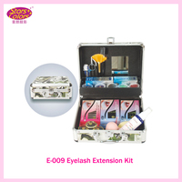 Portable Delure Green Beauty Grafting Eyelash Extension Kit False EyeLash Lashes Makeup Set with Silver Box Case