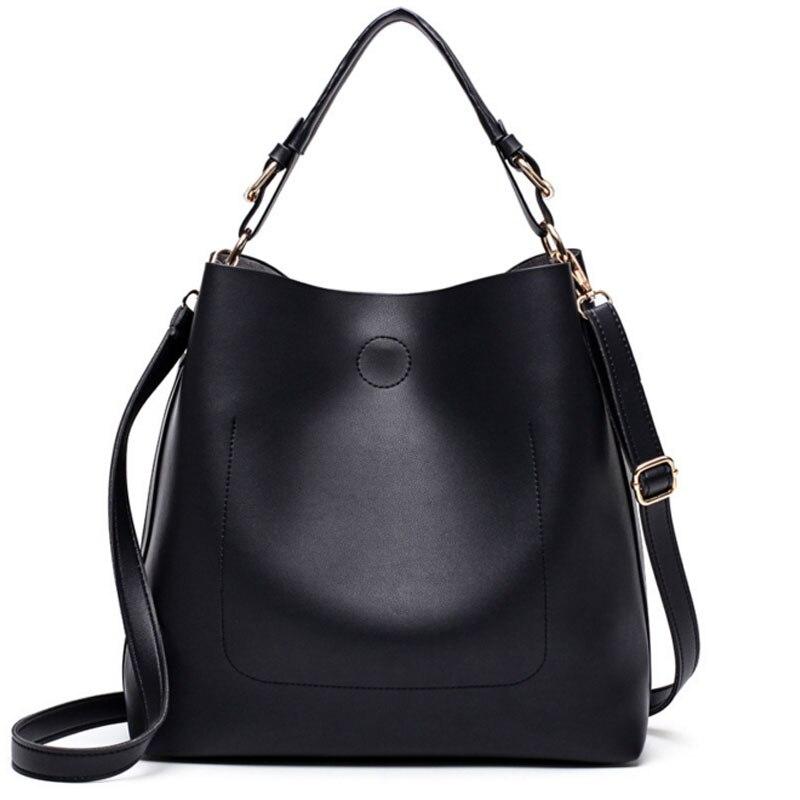 ФОТО New Bags Handbag Women Fashion Shoulder Bag Designer Handbags High Quality PU Leather Ladies Bucket Casual Tote Bag
