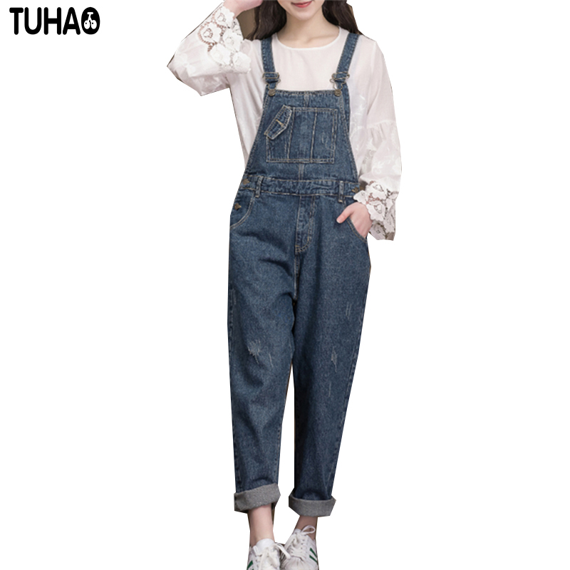 2017 new women's casual trousers loose all-match RETRO pants washed denim overalls puls size jeans womans Causal jeans XF24
